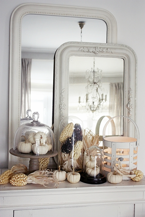 Do it Yourself All White Classy and Chic Fall Mantel Inspiration Home Decor Ideas for Autumn via White Living