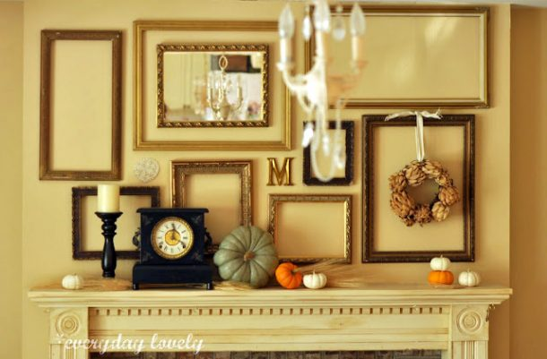 Do it Yourself Empty Frames and Mirror Simple and Classy Fall Mantel Inspiration Home Decor Ideas for Autumn via Everyday Lovely