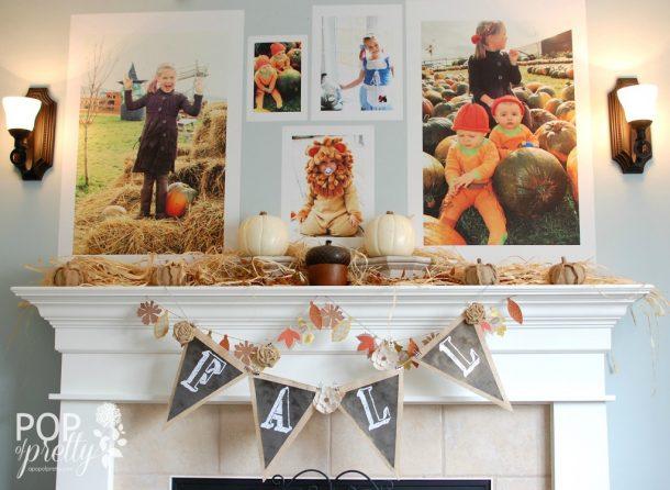 Do It Yourself Giant Family Photos Fall Mantel Inspiration Home Decor Ideas  For Autumn Via A