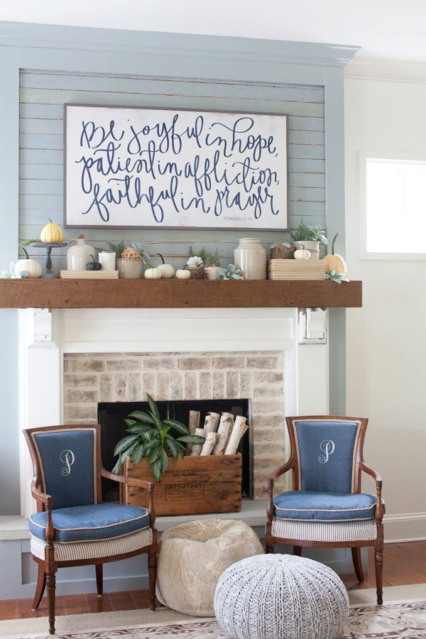 Do it Yourself Large Pretty Sign Focal Point with Neutrals and Blue Fall  Mantel Inspiration Home