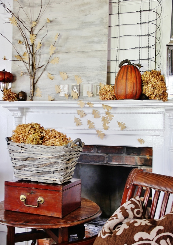 Do it Yourself Outdoor Elements with Wood and Fencing Fall Mantel Inspiration Home Decor Ideas for Autumn via Thistlewood Farms