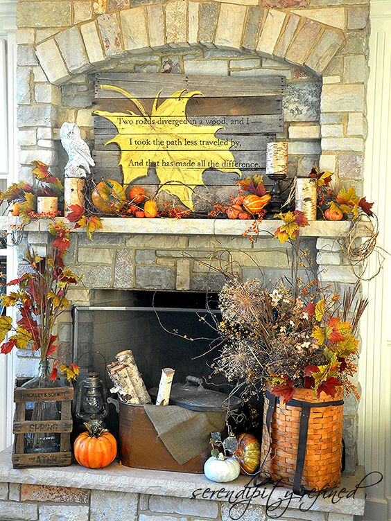 Do it Yourself Painted Leaf Pallet Sign Fall Mantel Inspiration Home Decor Ideas for Autumn via Serendipity Refined