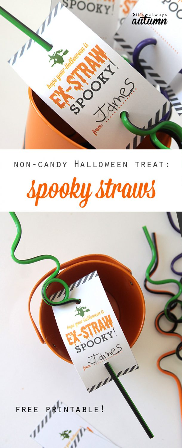 Non-Candy Halloween Treats and Favors Ideas and Recipes - Ex - STRAW Spooky Crazy Straws and FREE Printables via Its Always Autumn