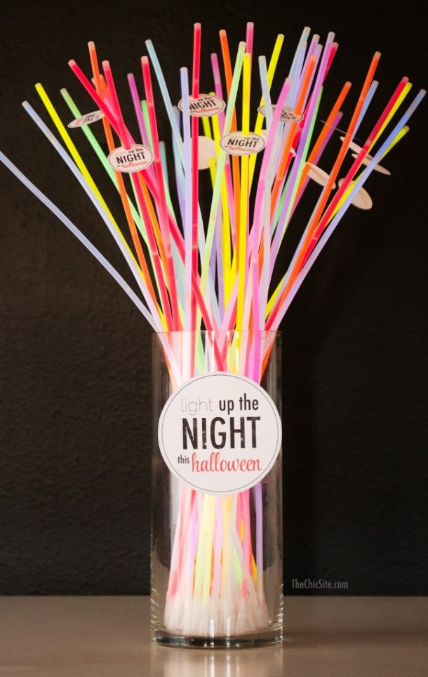 Non-Candy Halloween Treats and Favors Ideas and Recipes - Light Up The Night Glow Necklaces and Free Printables via CHIC