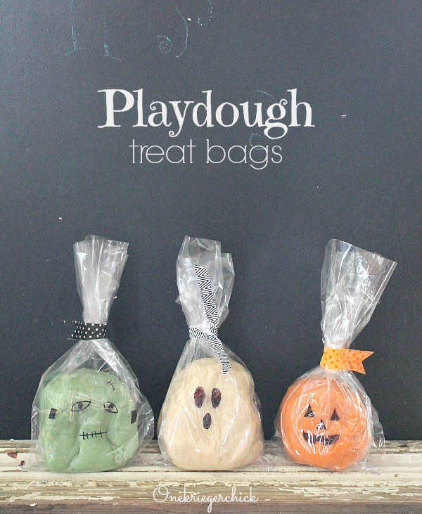 Non-Candy Halloween Treats and Favors Ideas and Recipes - Monster Ghost and Pumpkin Homemade PlayDough Treat Bags via One Krieger Chick