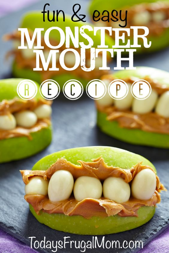 Non-Candy Halloween Treats and Favors Ideas and Recipes - Monster Mouth Apples Treats via Todays Frugal Mom