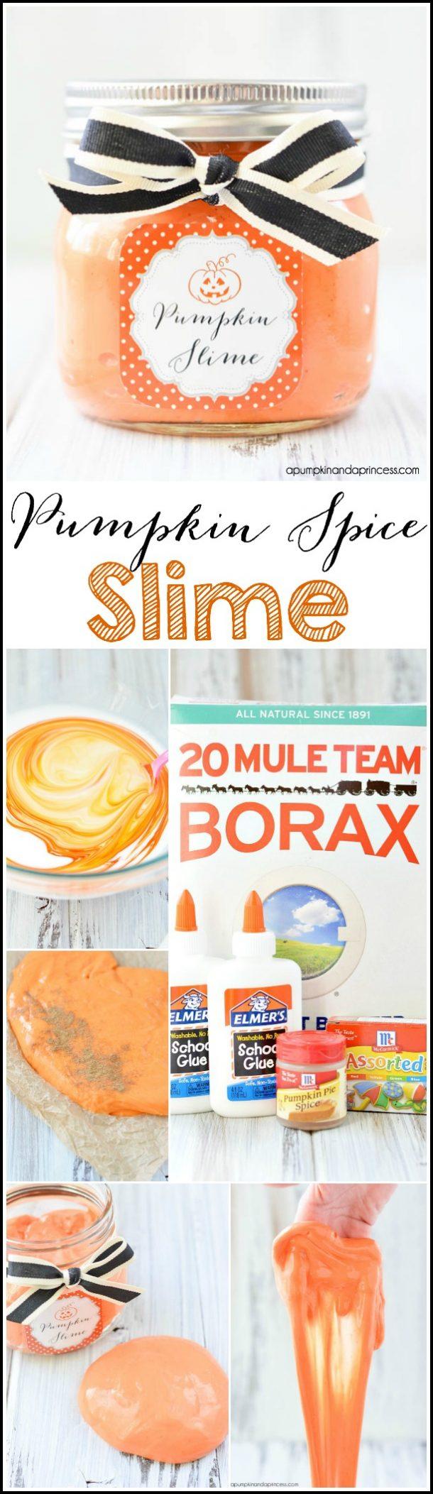 Non-Candy Halloween Treats and Favors Ideas and Recipes - Pumpkin Spice Slime via A Pumpkin and A Princess