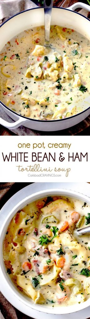 One Pot Creamy White Bean and Ham, Tortellini Soup Recipe | Carlsbad ...