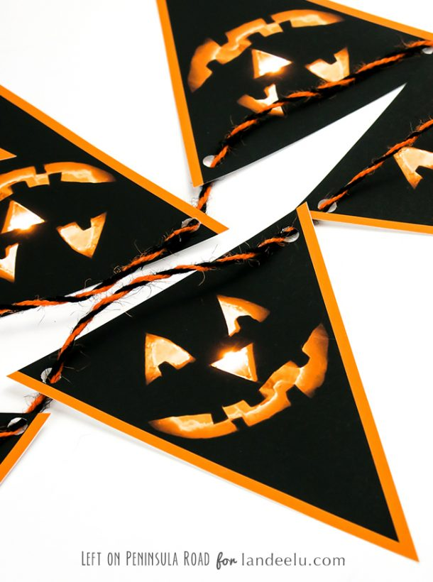 Print out this darling jack-o-lantern Halloween bunting and string it up to add a bit of fun to your Halloween decor this year!  Free Printable Halloween Bunting Decoration | Landeelu