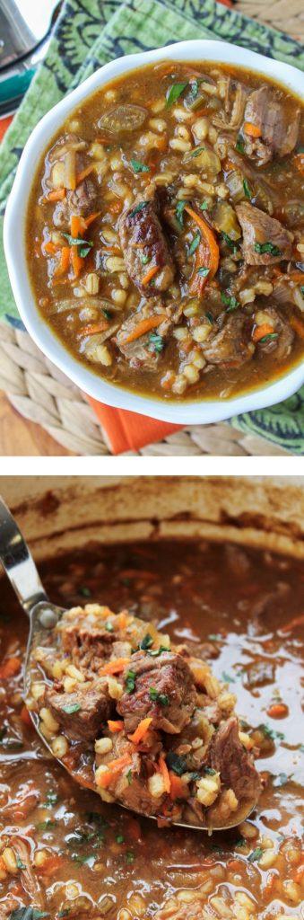 Beef Barley Crockpot Soup Recipe via The Food Charlatan