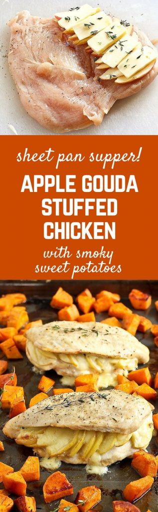Apple Gouda Stuffed Chicken Breasts with Smoky Roasted Sweet Potatoes Recipes | Rachel Cooks - Apple Recipes
