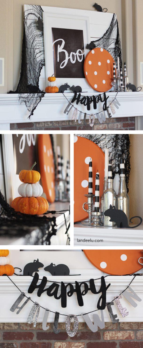 Such a cute Halloween mantel! Love the mice!
