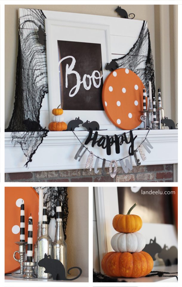 such a cute halloween mantel love the mice - Halloween Mantel Decor