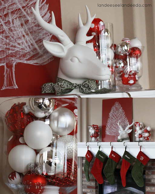 Clean and Simple Christmas Mantel with DIY Chalkboard Tree Art   Landeelu - Christmas and Winter Mantel Displays and Decorations Ideas