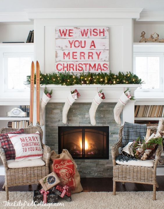Cozy Cottage Style Classic Red and White Mantel Ideas   The Lily Pad Cottage - Christmas and Winter Mantel Displays and Decorations Ideas
