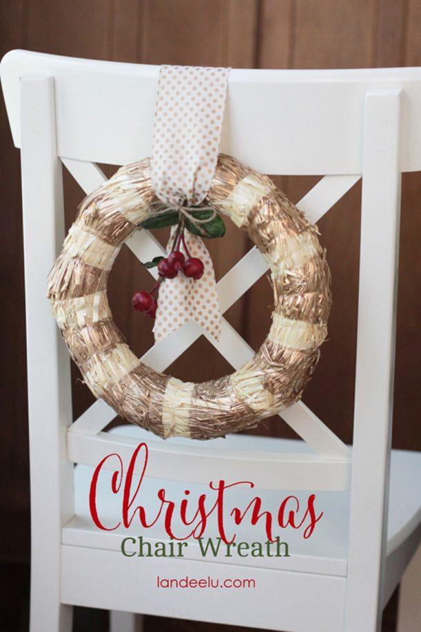 DIY Christmas Chair Wreaths - perfect for holiday dinner parties!   Landeelu