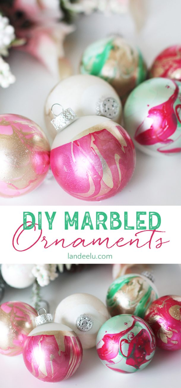diy marbled christmas tree ornaments easy step by step tutorial via landeelu - Christmas Tree Ornaments To Make