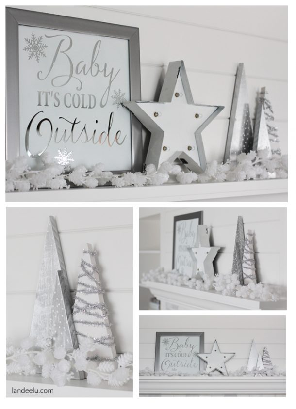 DIY Mirror Art and Winter White Mantel Decorations Ideas   Landeelu - Christmas and Winter Mantel Displays and Decorations Ideas