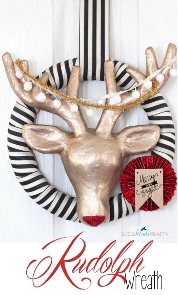 DIY Modern Rudolph Christmas Wreath Tutorial   She's Kinda Crafty