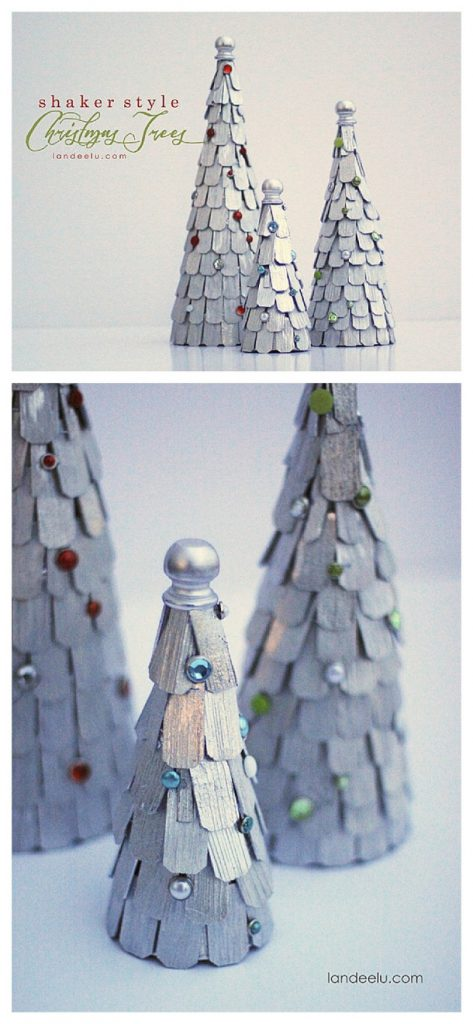 DIY Shaker Style Christmas Trees - Winter Mantel Decorations Tutorial | Landeelu