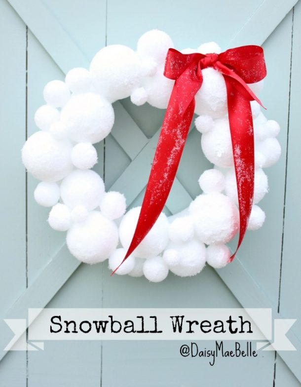 DIY Snowball Wreath Tutorial   Daisy Mae Belle- The perfect wreath to bring some SNOW to the holidays whether you get any in your town or not!