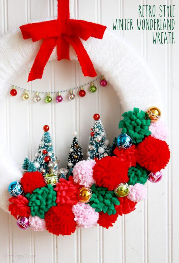 Darling Retro Style Winter Wonderland DIY Christmas Wreath   Flamingo Toes