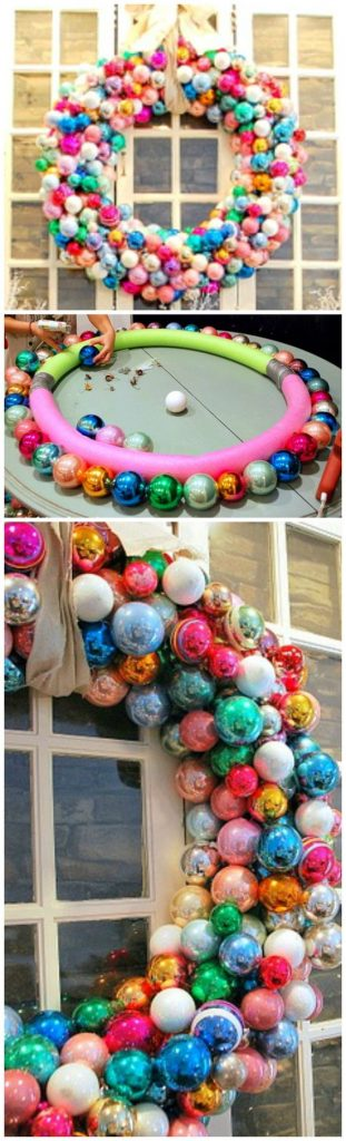 Giant ornament wreath using a pool noodle! 3 Foot Wide Ornament Wreath Tutorial   Sweet Pickins Furniture