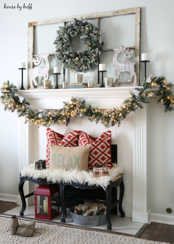 Glittery Bristle Pine Wreath and Garland Winter and Christmas Mantel Decor Ideas   House By Hoff