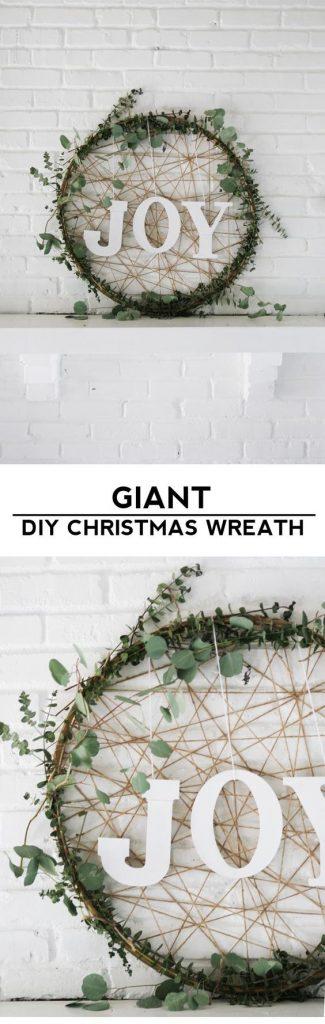 Grab a cheap hula hoop and make this Giant DIY Christmas Wreath   Homemade Ginger