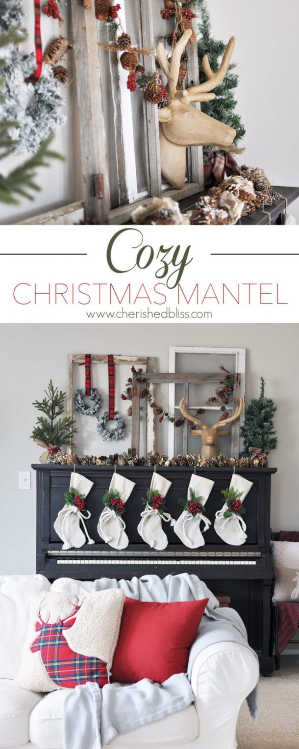 Great idea to use your upright piano to decorate if you don't have a fireplace!   Cherished Bliss - Christmas and Winter Mantel Displays and Decorations Ideas