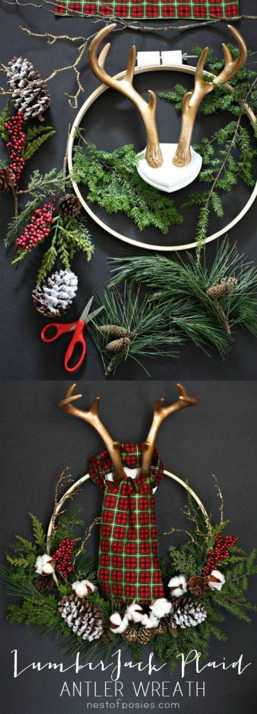 Lumber Jack Antlers and Plaid Christmas Wreath DIY Tutorial   Nest of Posies