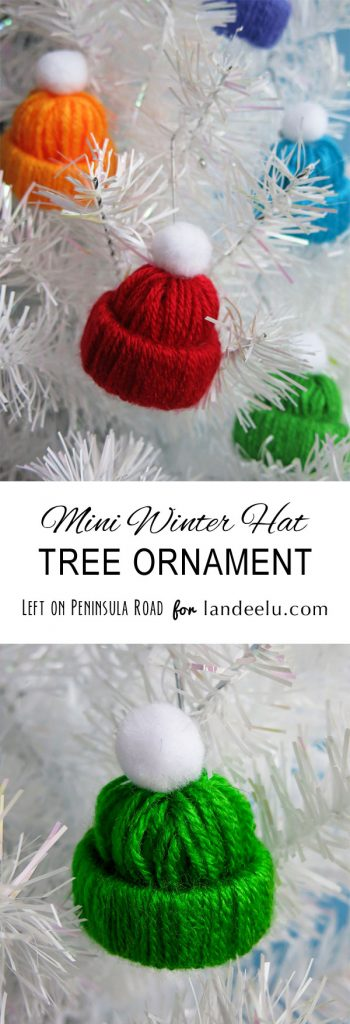 Darling Winter Hat Tree Ornament Yarn Craft DIY | Landeelu - Easy and Cheap DIY Christmas Tree Ornaments