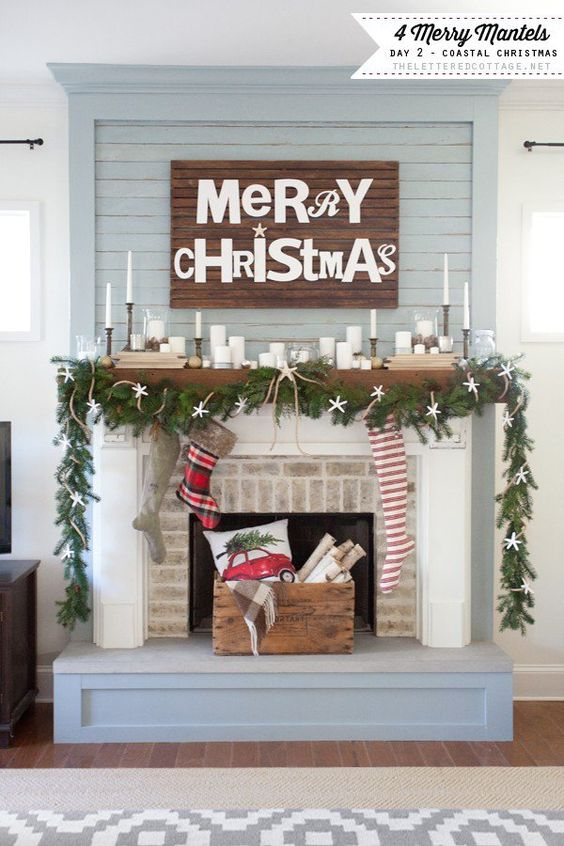 Pretty Coastal Christmas Mantel   The Lettered Cottage - Christmas and Winter Mantel Displays and Decorations Ideas