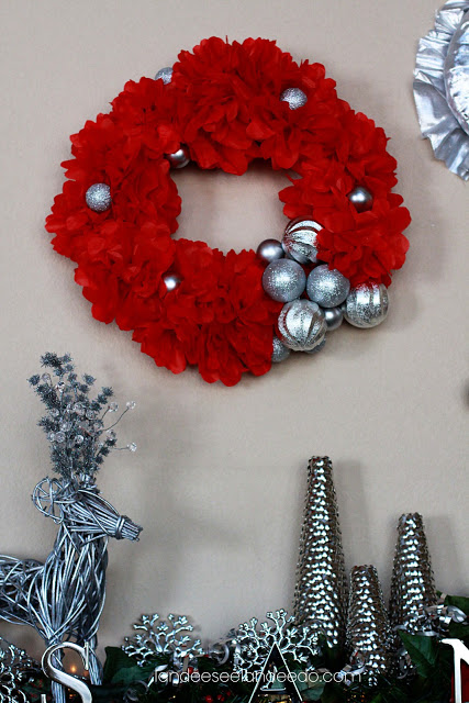 Silver, Red and Green Mantel Decor with Thumbtack Trees   Landeelu - Christmas and Winter Mantel Displays and Decorations Ideas