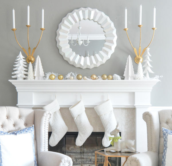 Simple Gold and White Winter Mantel Decorations Ideas   Centsational Girl - Christmas and Winter Mantel Displays and Decorations Ideas