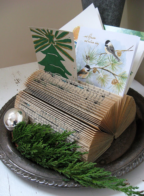 Diy christmas card holder and display ideas for Christmas tree made from old books