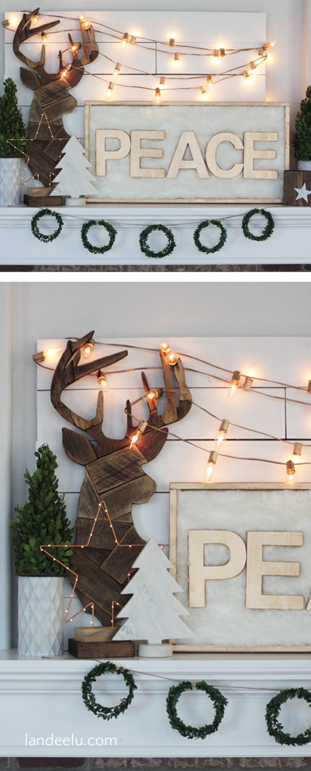 Love this neutral Christmas mantel with the wood tones, gold and white! Dreamy!