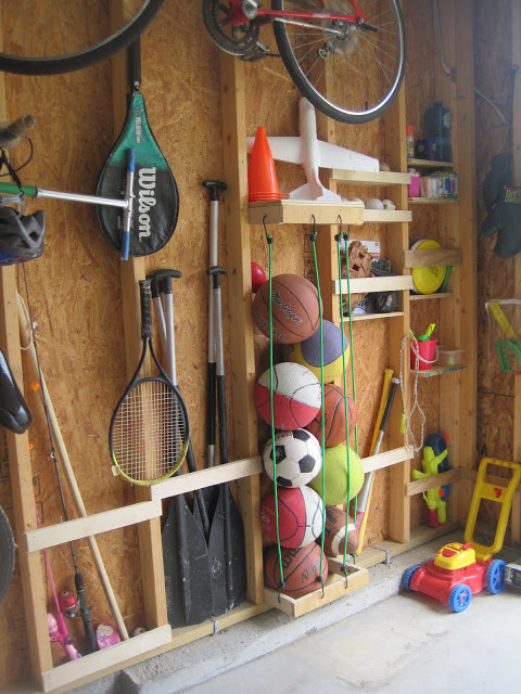 If you have open, exposed studs, this is SO easy! DIY Sports Equipment Garage Wall Storage | Designed to Dwell