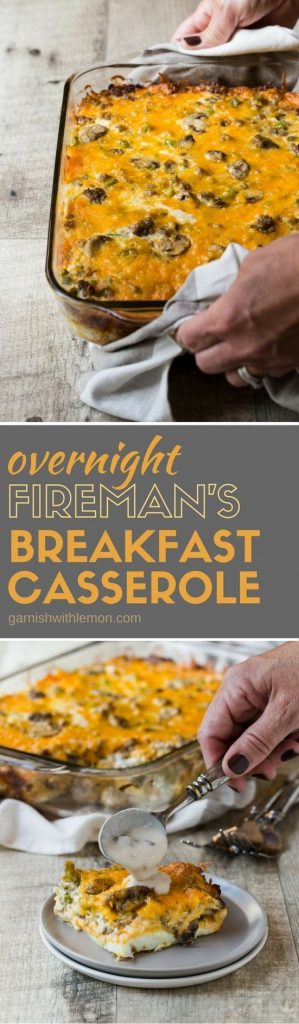 This recipe has been in her family for decades. It's an easy, make-ahead recipe that is perfect for holiday brunches! Fireman's Overnight Breakfast Casserole Recipe | Garnish with Lemon