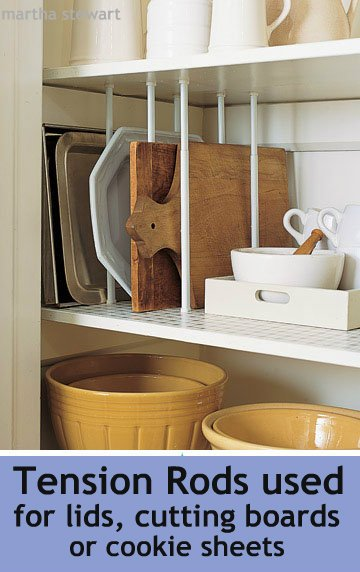 Use cheap small tension rods for platters, boards, serving trays and cookie sheet dividers! | Martha Stewart