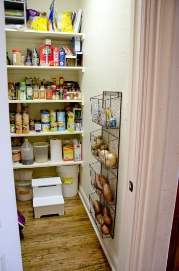 Use magazine racks or office file holders - mount them on the wall or inside of the door for more pantry storage! | Just What Am I Thinking