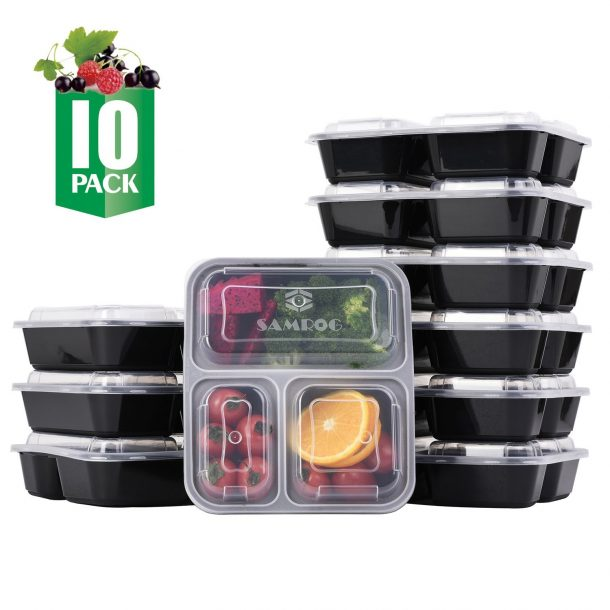 3 Compartment Bento Lunch Boxes with Lids – Reusable, Stackable, Microwave, Dishwasher & Freezer Safe, BPA Free - Meal Prep, Portion Control, Food Storage Containers