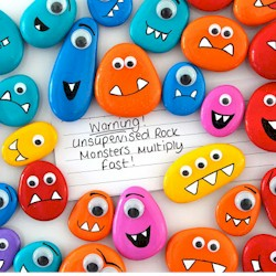 Rock Monsters Painted Pebbles Kids Summer Craft via Free Kids Crafts