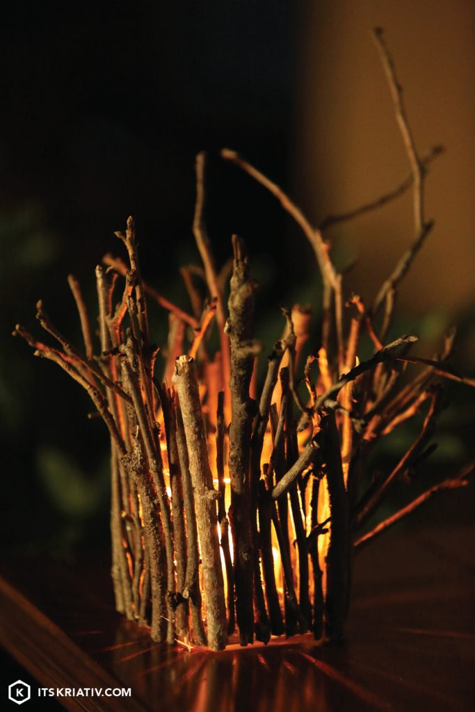 Twinkling Twig Fall DIY Luminaries | It's Kriativ