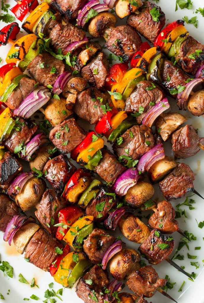 Marinated and Grilled Steak and Veggies Kebabs Recipe | Cooking Classy