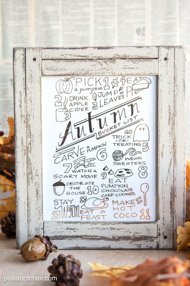 Printable Autumn Bucket List | Polka Dot Chair