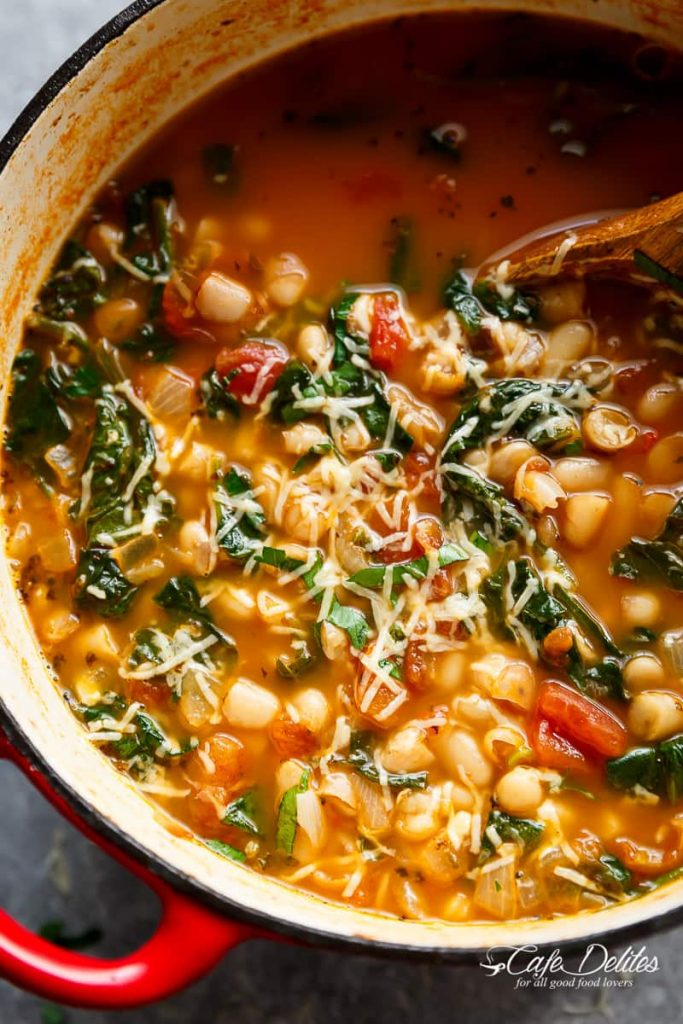 10-MinuteWhite Bean Parmesan Spinach Soup Recipe | Cafe Delites