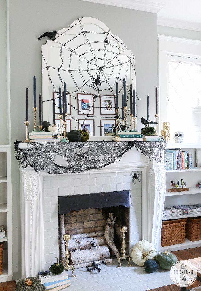 Stylish, Spooky and Chic Halloween Mantel Decorating Ideas | Inspired by Charm