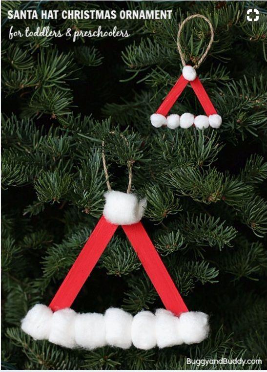 Santa Hat Homemade Christmas Ornament Using Craft Sticks   DIY Fun Idea