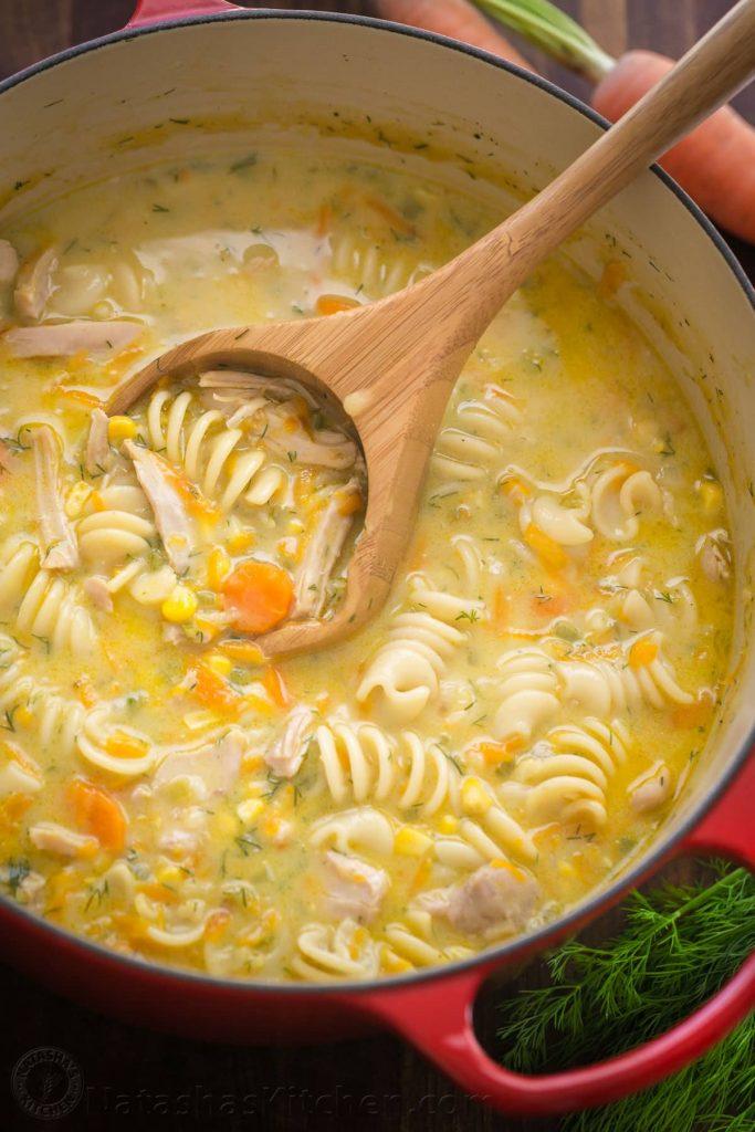 Creamy Chicken Noodle Soup Recipe | Natasha's Kitchen